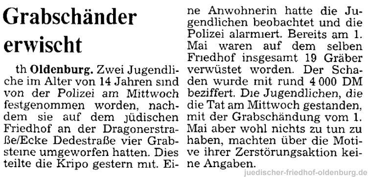 Zeitungsbericht über die Schändung im Jahr 1990
