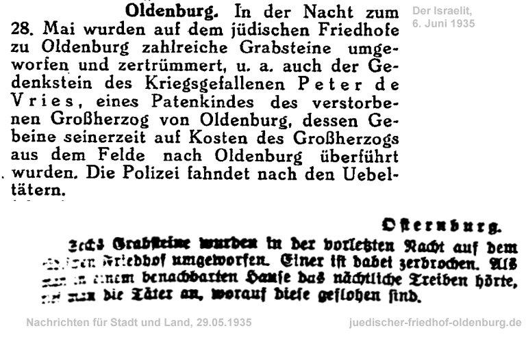 Zeitungsberichte zur Schändung im Jahr 1935