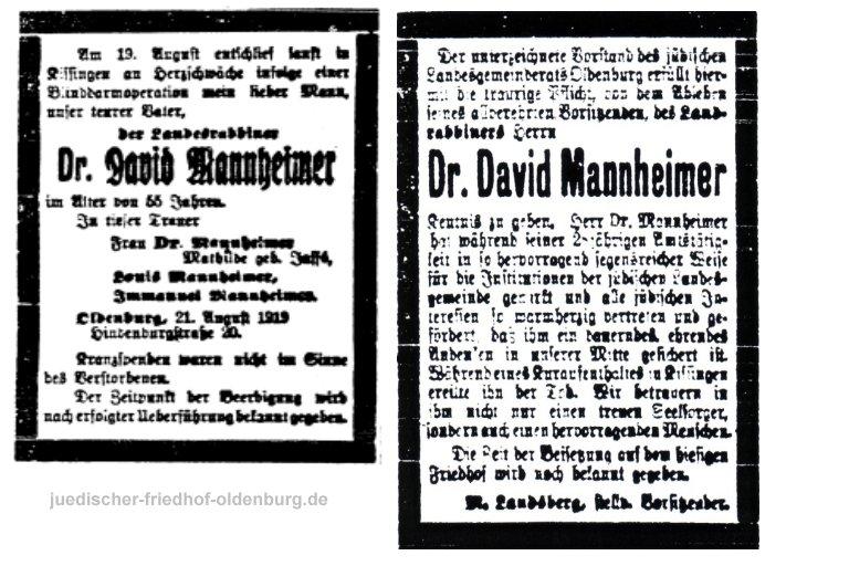 Traueranzeigen für Landrabbiner Dr. David Mannheimer