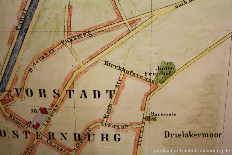 Kolorierte Karte der Vorstadt Osternburg (Ausschnitt), undatiert (Stadtmuseum Oldenburg)