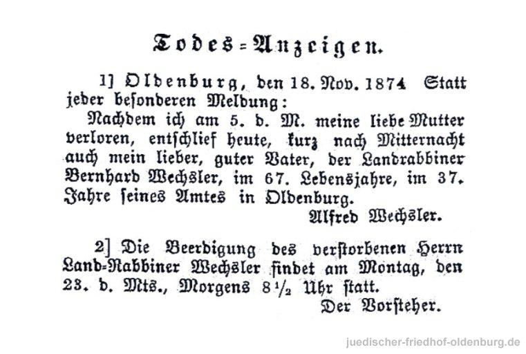 Traueranzeige für Landrabbiner Bernhard Wechsler