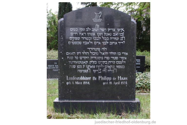Grabstein für Landesrabbiner Philipp de Haas